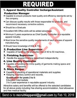 Quality Control In Charge, Assistant Production Manager Jobs