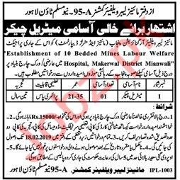 Mines Labour Welfare Organization Lahore Jobs 2019