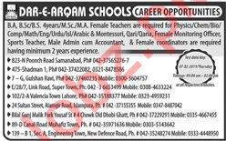 Dar e Arqam Schools Lahore Jobs 2019 or Teachers