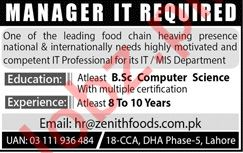 Manager IT Jobs 2019 in Lahore