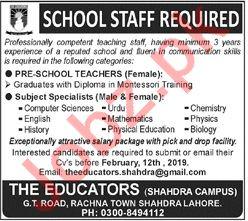 The Educators Shahdra Campus Lahore Jobs 2019 for Teachers