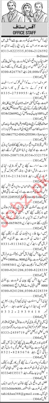 Jang Sunday Classified Ads 2nd Feb 2019 for Office Staff