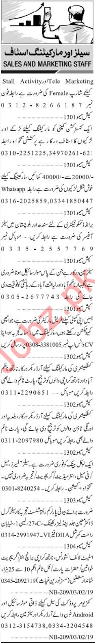 Jang Sunday Classified Ads 2nd Feb 2019 for Sales Staff