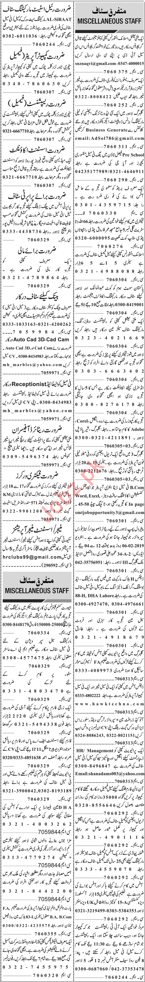 Jang Sunday Classified Ads 2nd Feb 2019 for General Staff