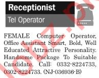 The News Sunday Classified Ads 2nd Feb 2019 for Receptionist
