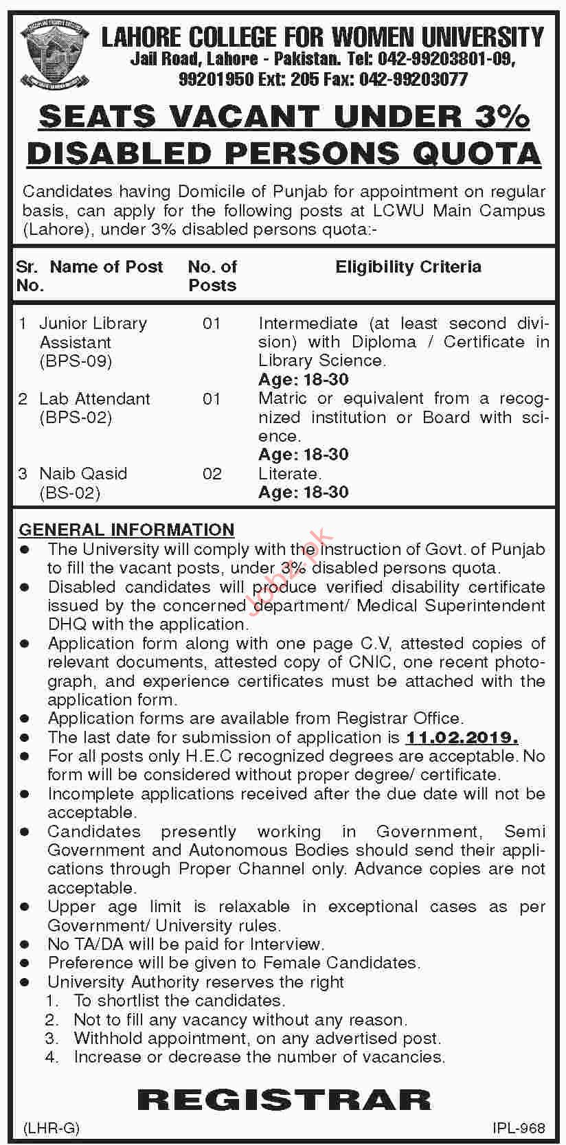 Lahore College For Women University Library Assistant Jobs 2019 Job