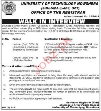 University of Technology Lecturer Jobs 2019