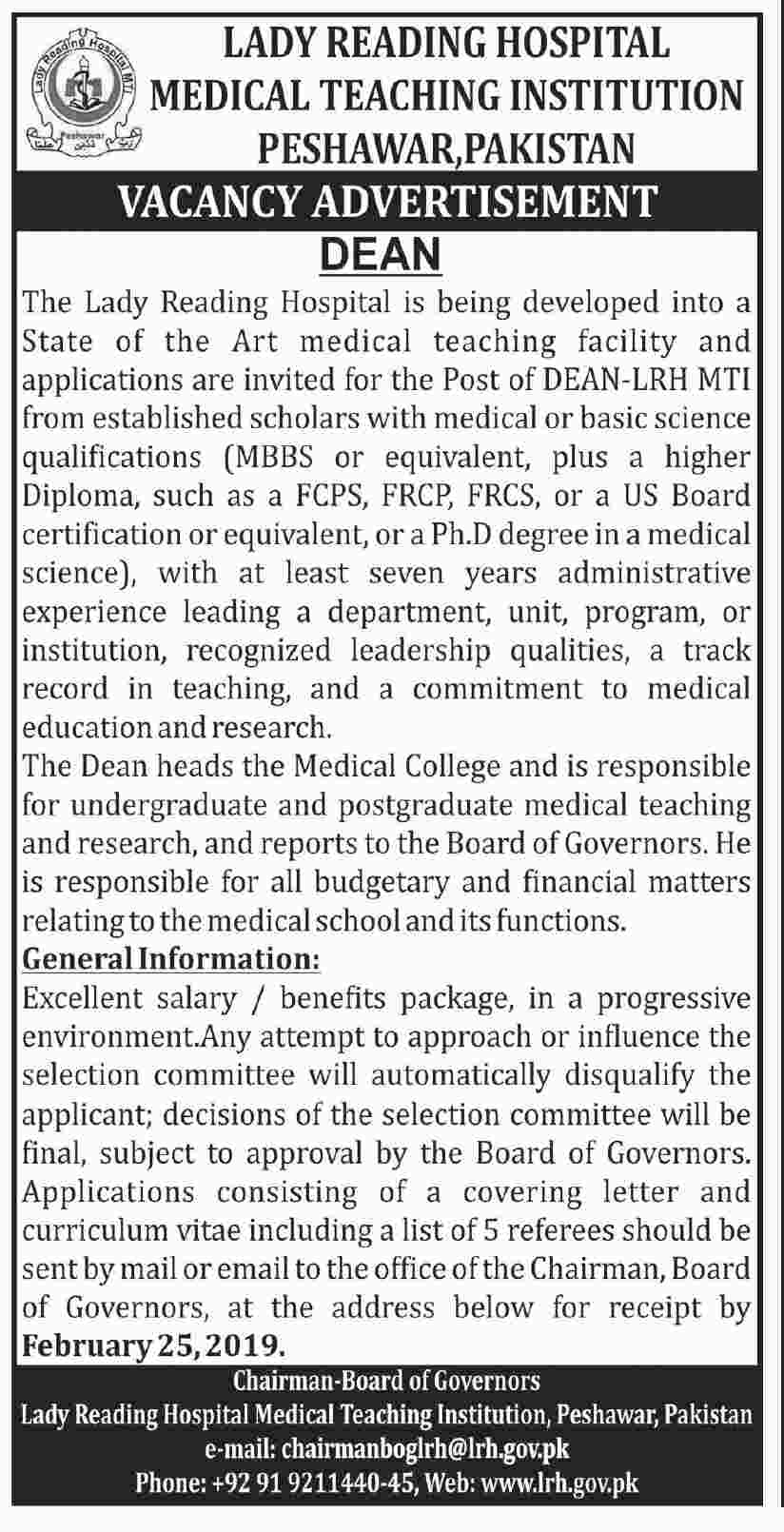 Lady Reading Hospital LRH Peshawar Jobs 2019 for Dean