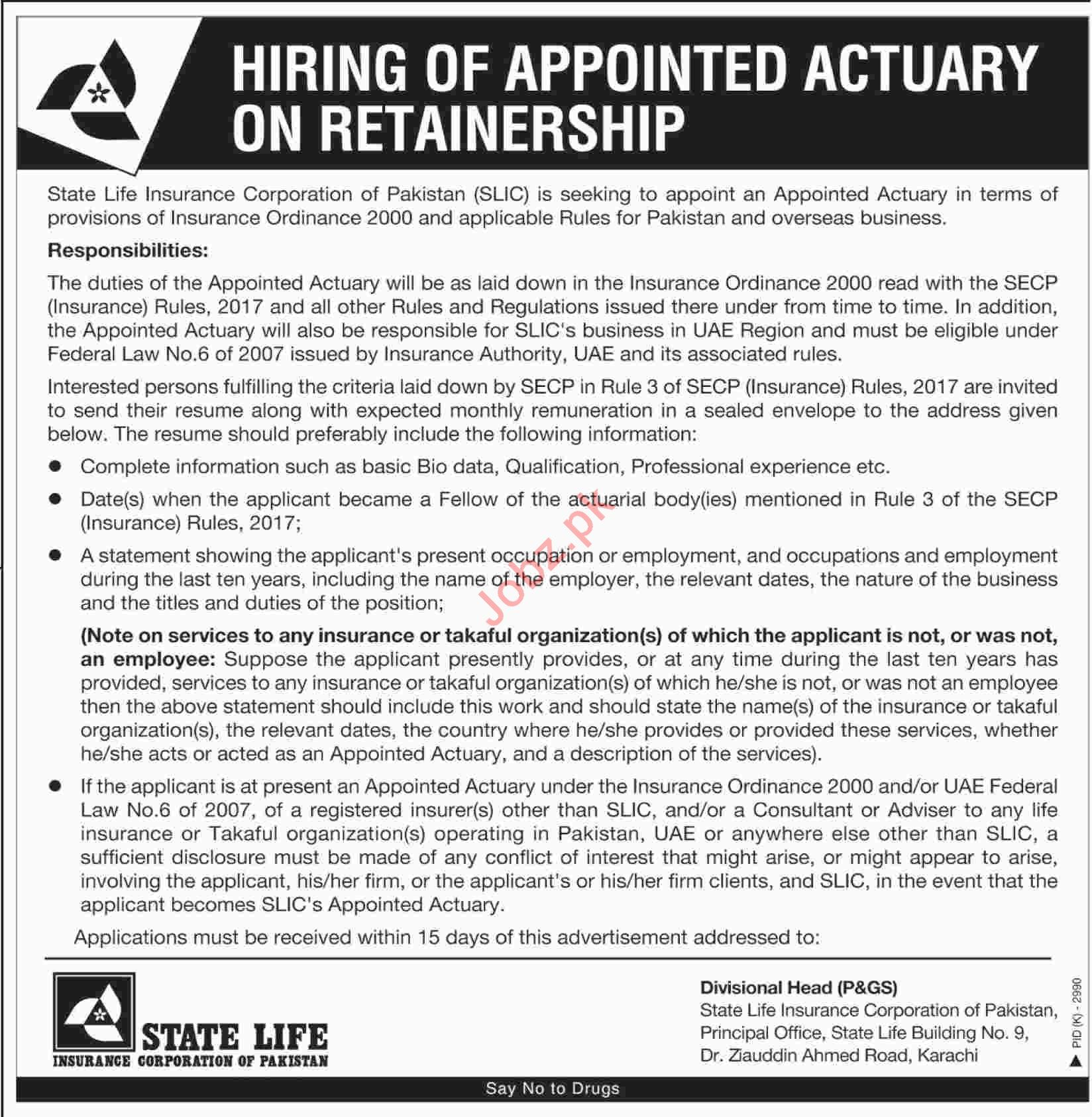 State Life Karachi Jobs 2019 for Chief Actuary