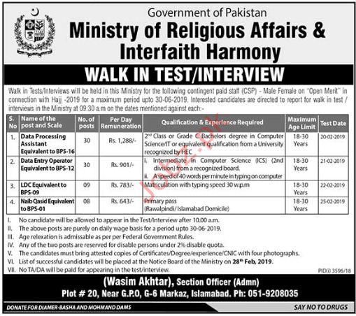 Ministry of Religious Affairs & Interfaith Harmony Jobs 2019