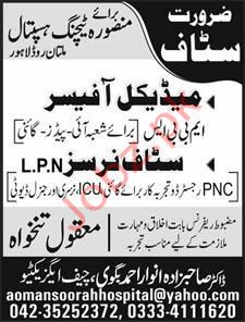 Masoora Teaching Hospital Medical Officer Jobs 2019