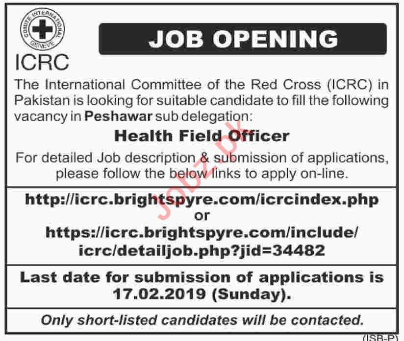 ICRC Pakistan NGO Jobs 2019 for Health Field Officer