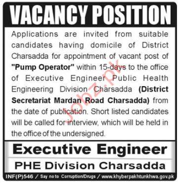 Pump Operator Jobs in PHE Division Charsadda
