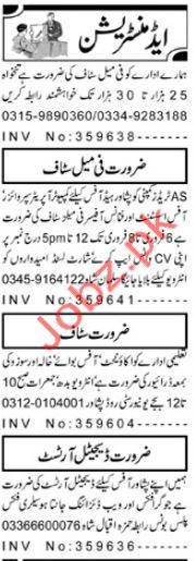 Administration Staff Jobs 2019 in Peshawar