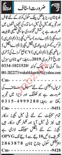 Balochistan Residential Public School Teaching Jobs 2019
