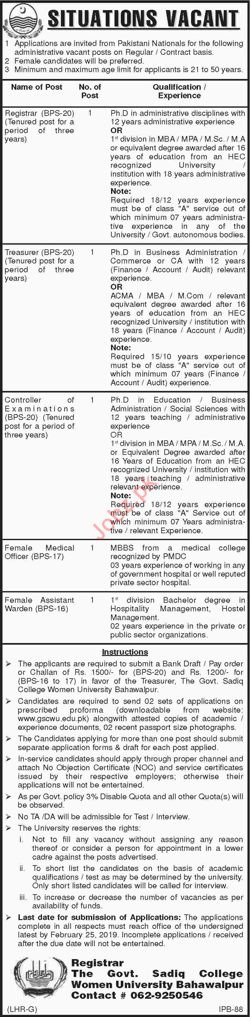 Government Sadiq College Women University Jobs 2019