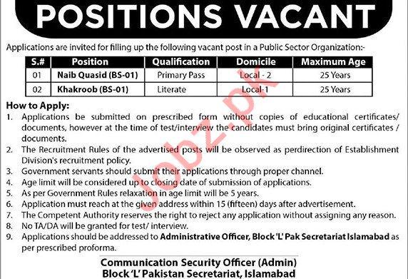 Public Sector Organization Jobs 2019 in Islamabad
