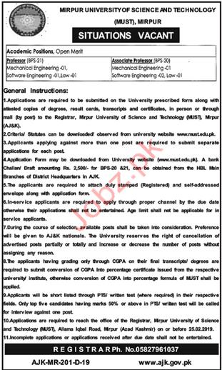 Mirpur University of Science & Technology Jobs 2019