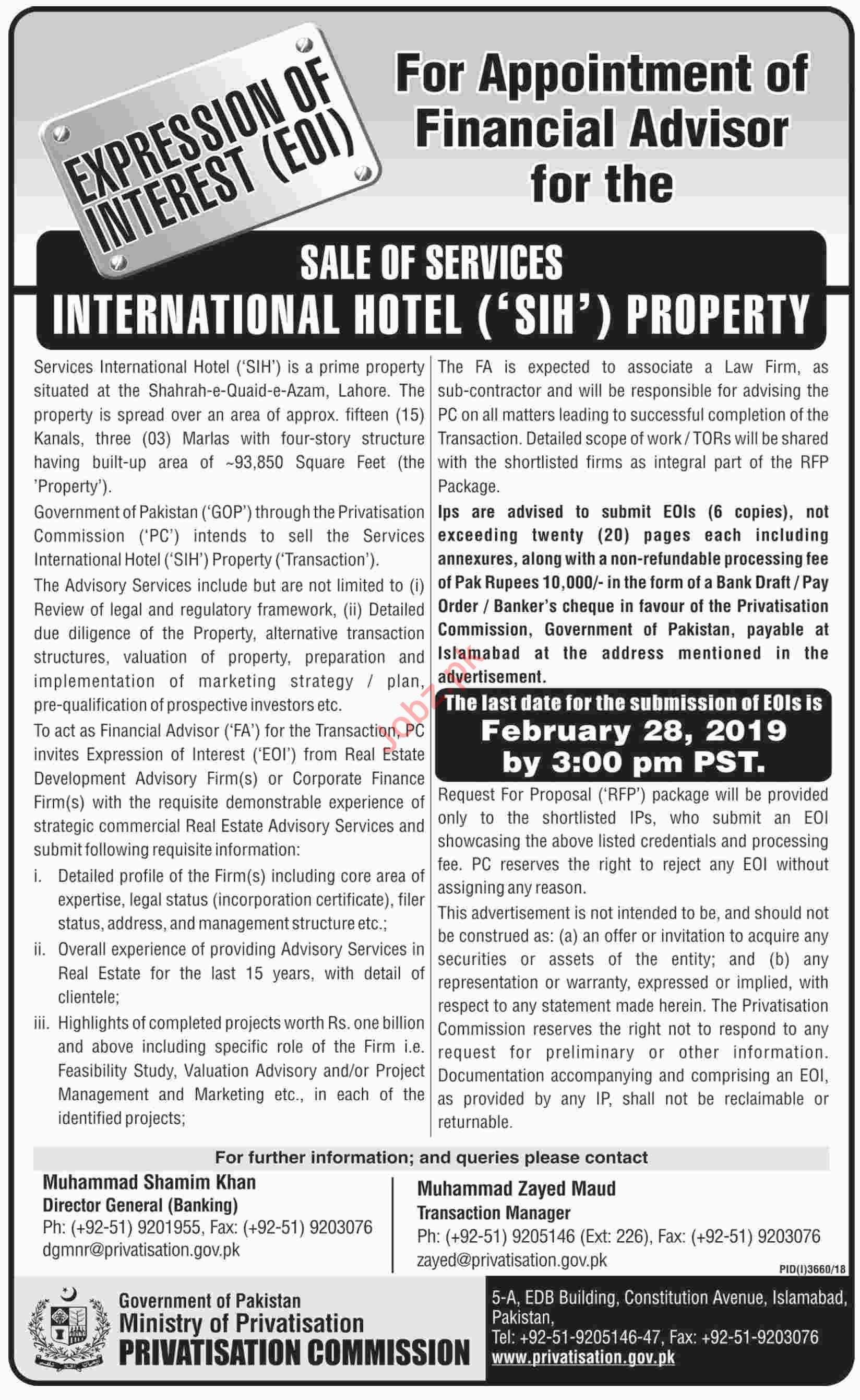 Ministry of Privatisation Islamabad Jobs 2019 for Advisor