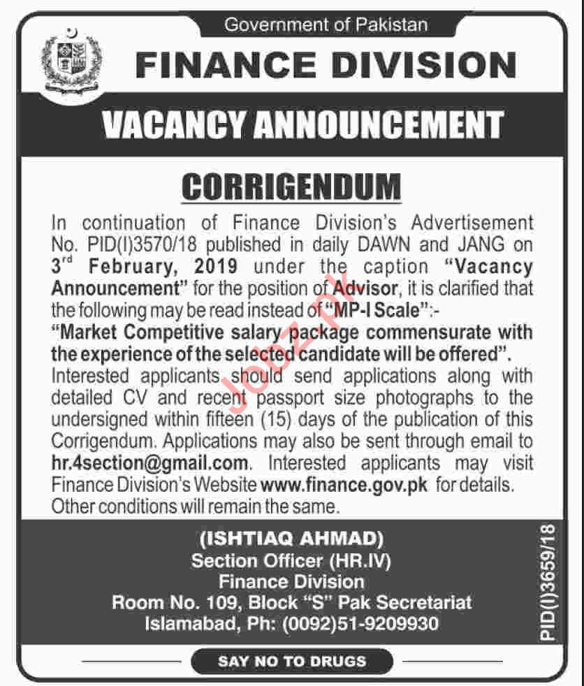 Finance Division Islamabad Jobs 2019 for Advisor