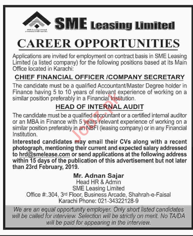 SME Leasing Limited Karachi Jobs 2019 Auditor & Secretary