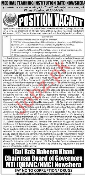 Medical Teaching Institution MTI Nowshera Jobs 2019 for Dean