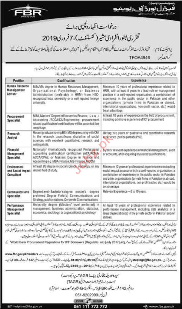 Federal Board of Revenue FBR Jobs 2019