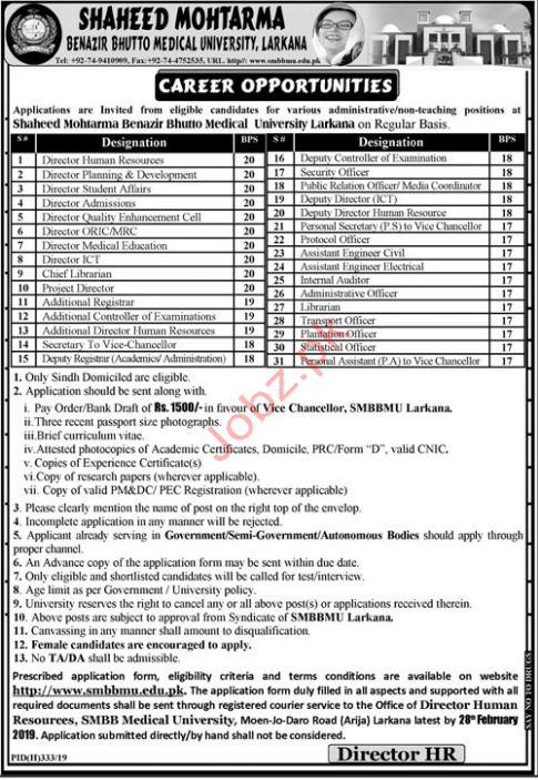 Mohtarma Benazir Bhutto Medical University Management Jobs