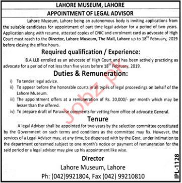Lahore Museum Legal Advisor Jobs 2019