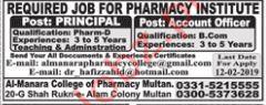 Pharmacy Institute Principal Jobs 2019