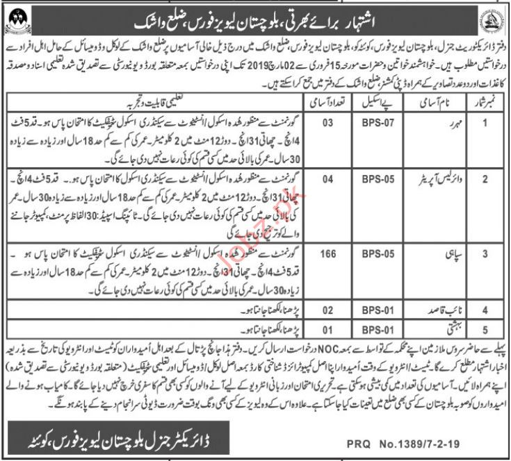 Balochistan Levies Force Soldier Jobs 2019 in Washuk