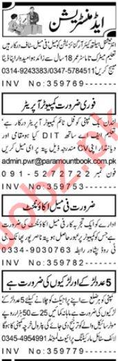 Aaj Newspaper Classified Administration Jobs in Peshawar KPK