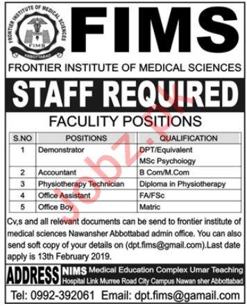 Frontier Institute of Medical Sciences FIMS Jobs 2019
