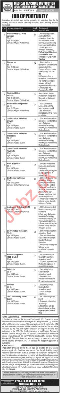 MTI Ayub Teaching Hospital Abbottabad Jobs Through NTS