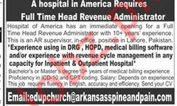 Head Revenue Administrator Job 2019 in Lahore