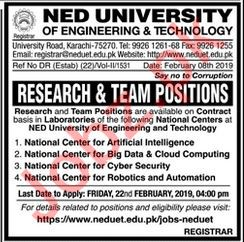NED University of Engineering and Technology Jobs 2019