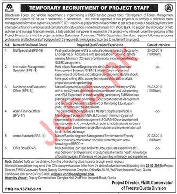 Balochistan Forest And Wildlife Department Jobs 2019