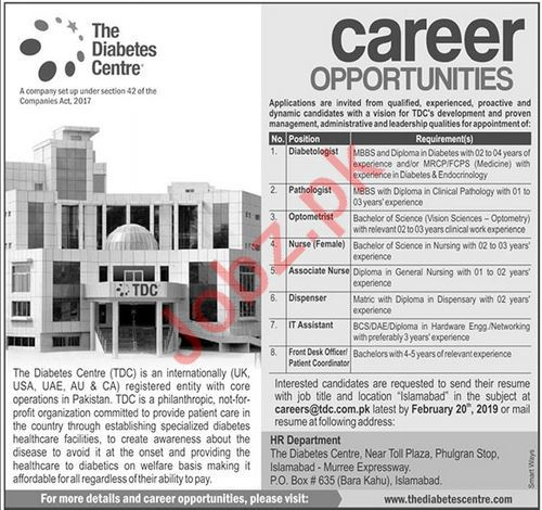 The Diabetes Center TDC Jobs 2019 in Islamabad
