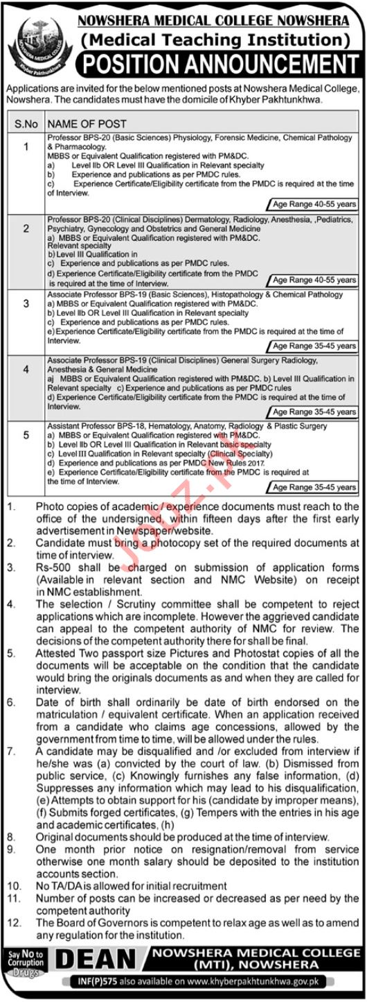 Nowshera Medical College Physiology Professor Jobs