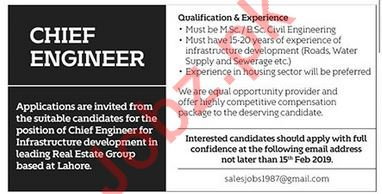 Chief Engineer Job 2019 in Lahore
