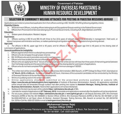 Ministry of Overseas Pakistanis and HRD Job 2019