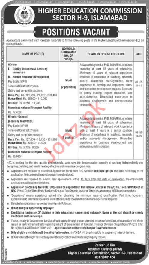 HEC Higher Education Commission Jobs 2019 For Islamabad