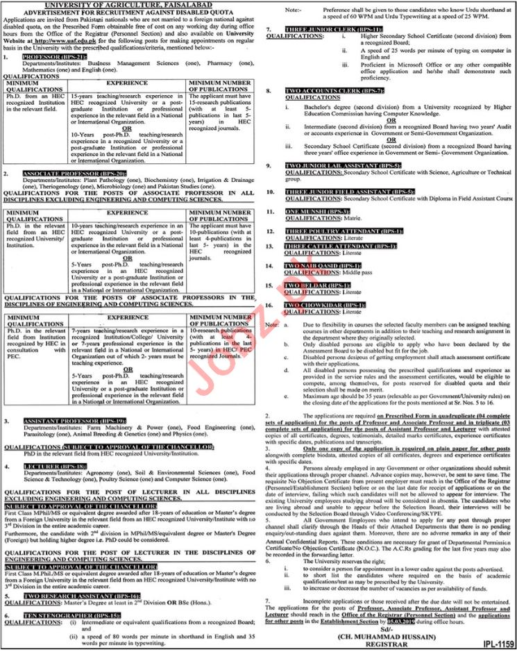 University of Agriculture Faculty & Non Faculty Jobs 2019