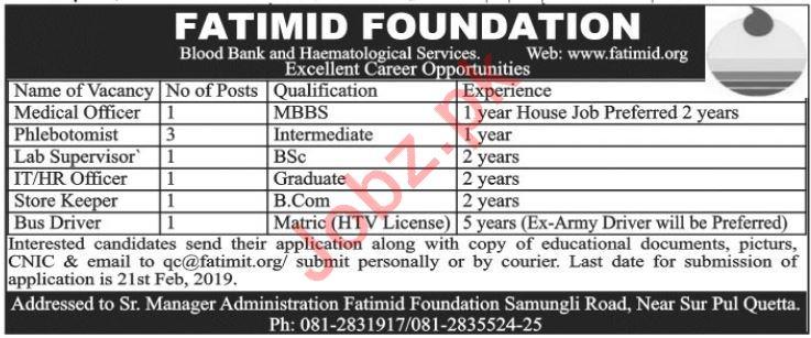 Fatimid Foundation Phlebotomist Jobs