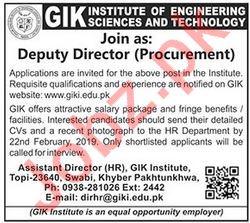 GIK Institute of Engineering Sciences & Technology Job 2019