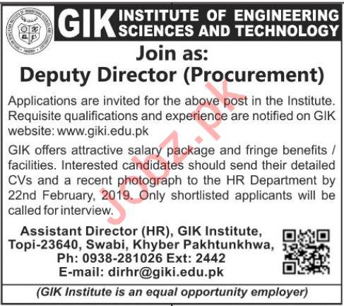 Deputy Director Procurement Jobs at GIKI Institute