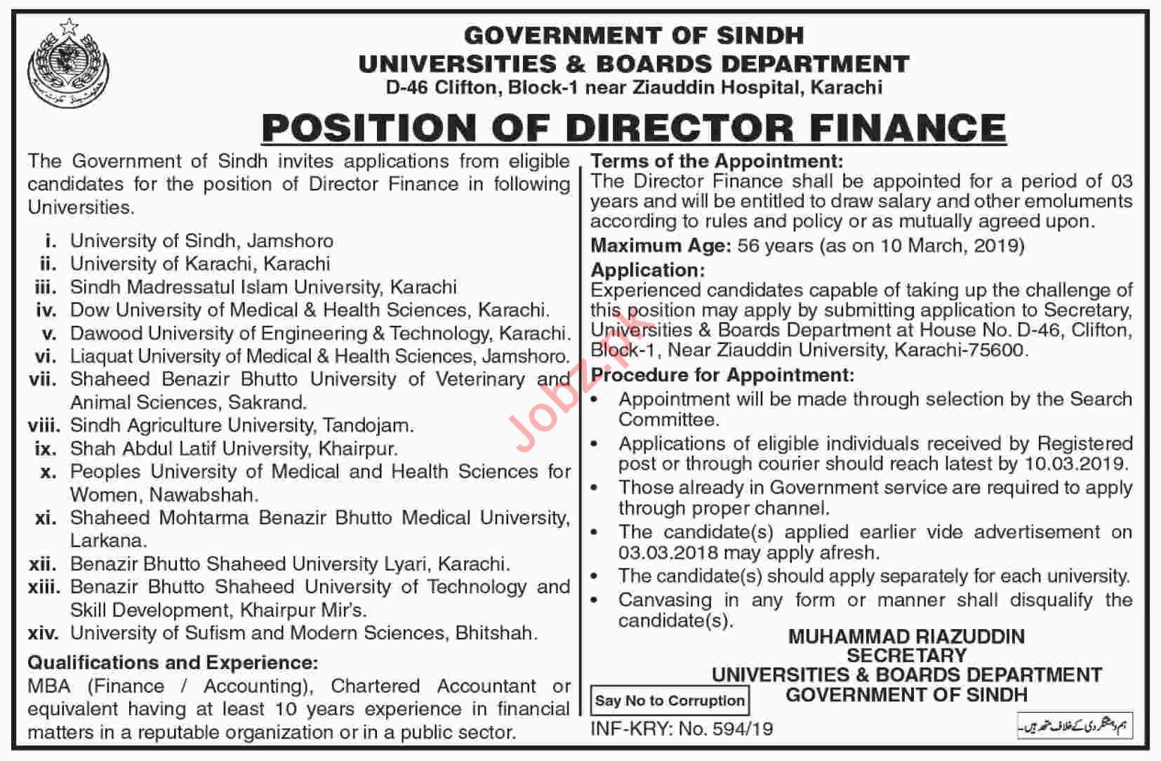 Universities and Boards Department Director Finance Jobs