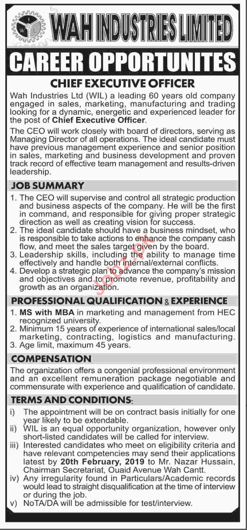 Wah Industries Limited Chief Executive Officer Jobs