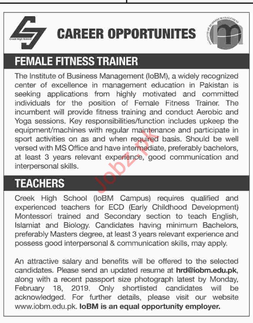 Institute of Business Management IoBM Fitness Trainer Jobs