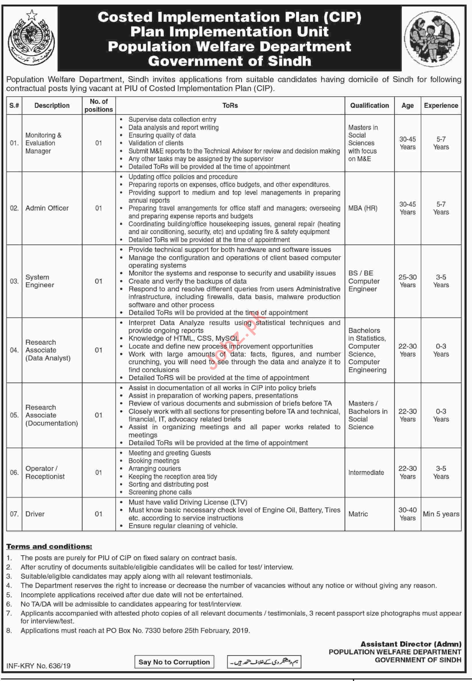 Population Welfare Department Evaluation Manager Jobs